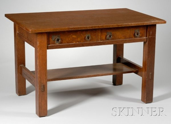 606: Lifetime Arts & Crafts Oak Two-Drawer Library Tabl