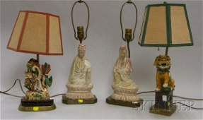 931 Four Asian Wood and Pottery Figural Table Lamps t