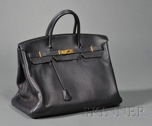 "1: Bleu Marine Togo Leather ""Birkin"" Handbag, Hermes, o"