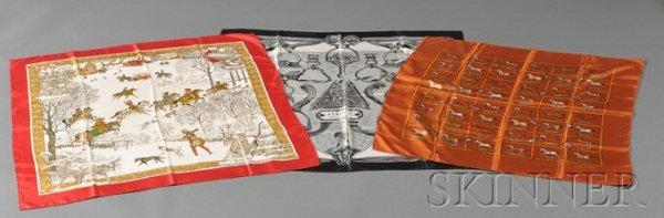 """3: Three Silk Scarves, Hermes, """"Etriers"""" depicting vari"""