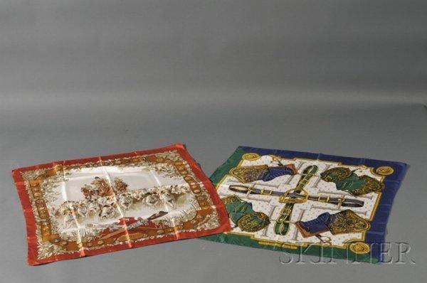 "4: Two Silk Scarves, Hermes, ""Selles a Housse"" depictin"