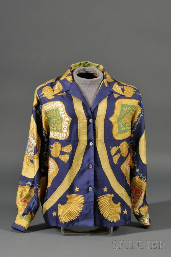 """5: Lady's Silk Blouse, Hermes, """"Poste et Cavalerie"""" on"""