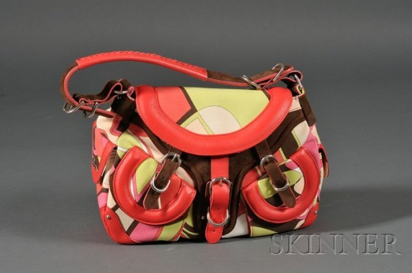 6: Canvas and Leather Handbag, Emilio Pucci, with suede