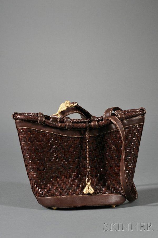 8: Brown Leather Handbag, Kieselstein-Cord, the woven e