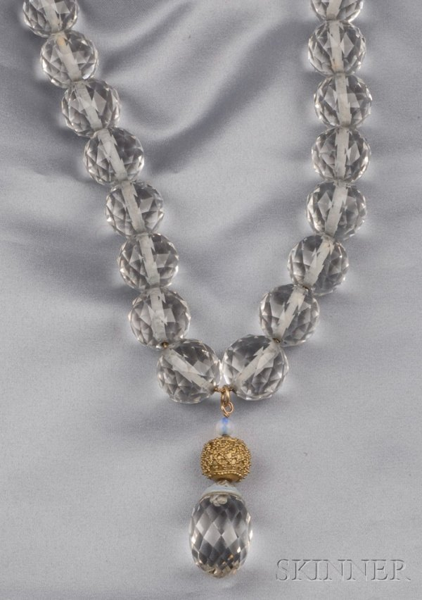 10: Large Rock Crystal Bead Pendant Necklace, composed