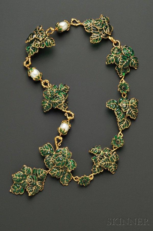 18: Vintage Colored Glass Leaf Necklace, Maison Gripoix