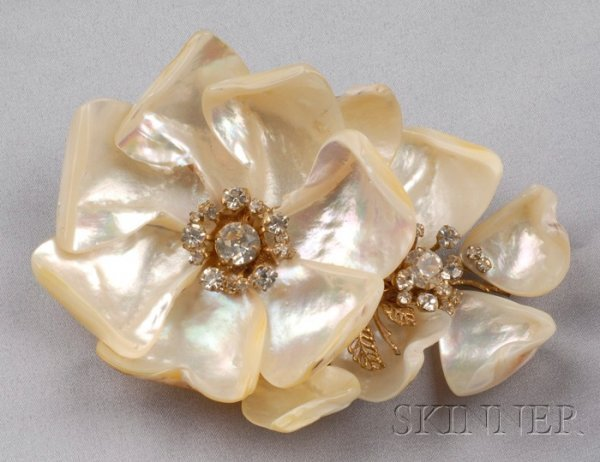 19: Vintage Dogwood Brooch, Miriam Haskell, the double