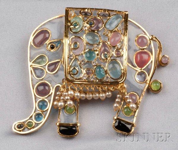 21: Colored Glass Elephant Pendant/Brooch, Maison Gripo