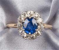 197 Edwardian Sapphire and Diamond Ring set with a cu