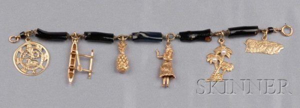 14kt Gold Hawaii Charms, a hula dancer, palm trees