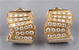 435 18kt Gold and Diamond Earclips Italy each wave m