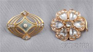 584 Two Antique 14kt Gold Gemset Brooches a fourlea