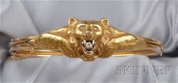 619: Art Nouveau 14kt Gold and Diamond Bangle Bracelet,