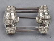 705 Art Deco Platinum Rock Crystal and Diamond Brooch