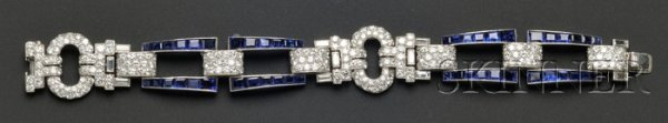 725: Art Deco Platinum, Sapphire, and Diamond Bracelet,