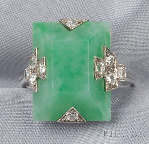 730: Art Deco Platinum, Jadeite, and Diamond Ring, Bouc