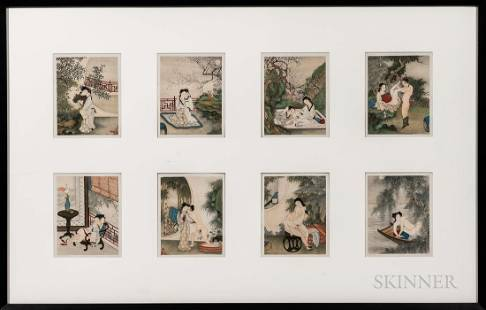 Set of Eight Erotic Paintings in a Frame