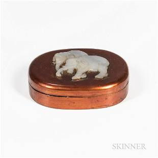 Lacquer Box Mounted with Jade Elephant Plaque