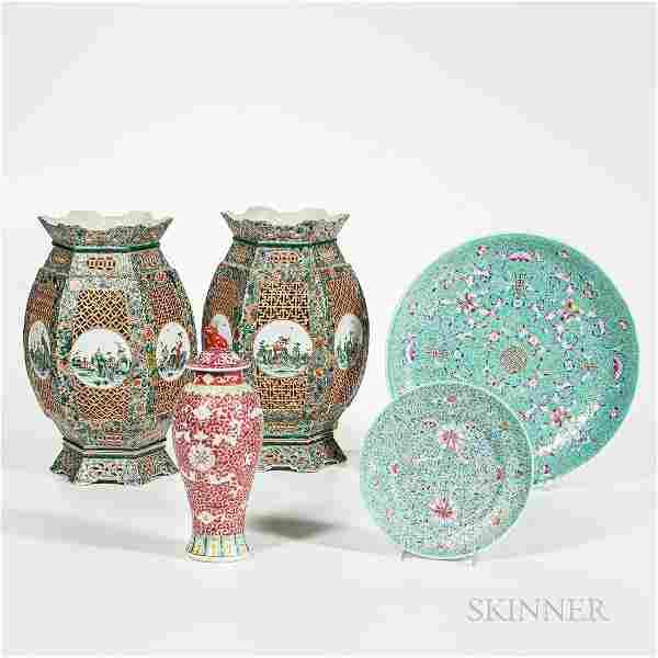 Five Enameled Porcelain Items
