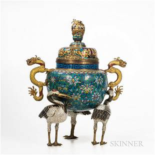 Cloisonne Tripod Handled Censer with Openwork Cover