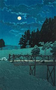 Kawase Hasui (1883-1957), Moon over Akebi Bridge