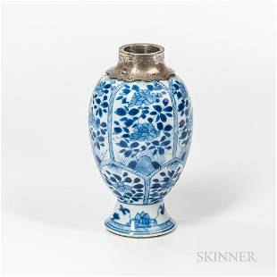 Small Blue and White Vase with White Brass Mouth