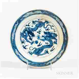 Blue and White Dragon Dish