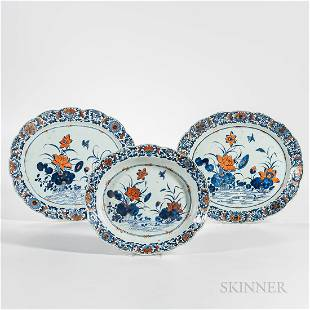 Set of Three Iron Red Blue and White Chargers