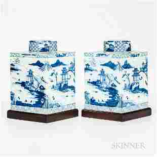 Pair of Large Blue and White Export Storage Canisters