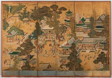 Six-panel Folding Screen, Gwakbunyang Haengnakdo