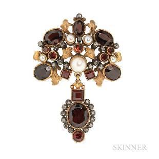 18kt Gold, Garnet, and Diamond Pendant/Brooch