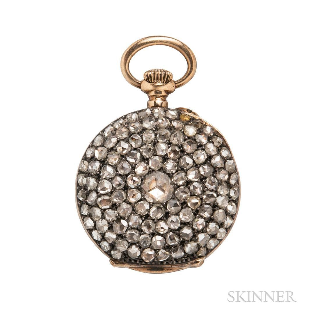Antique Rose-cut Diamond Demi-hunting Case Pocket Watch