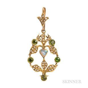 Art Nouveau 9kt Gold and Peridot Pendant