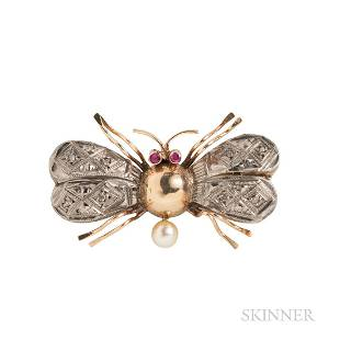 Gold Insect Brooch