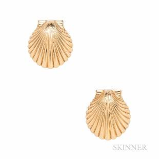Tiffany & Co. 14kt Gold Scallop Shell Screw-back