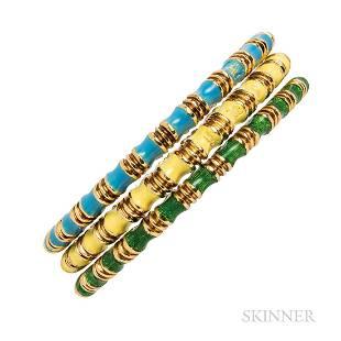 Three Tiffany & Co. 18kt Gold and Enamel Bangle