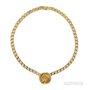 Bulgari 18kt Gold and American Gold Coin Necklace
