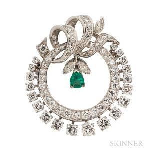 Platinum and Diamond Pendant/Brooch