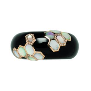 Onyx, 14kt Gold, Mother-of-pearl, and Diamond Cuff