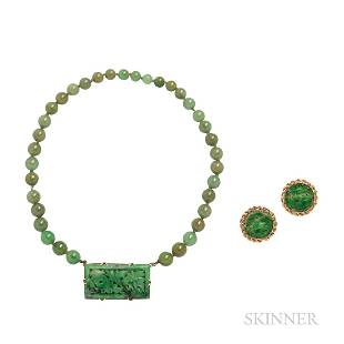14kt Gold and Jade Earclips and Necklace