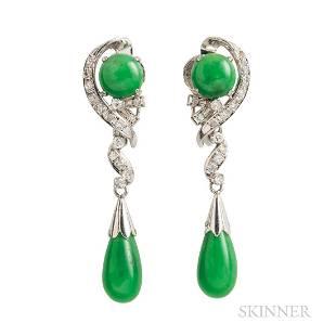 14kt White Gold, Jade, and Diamond Earrings