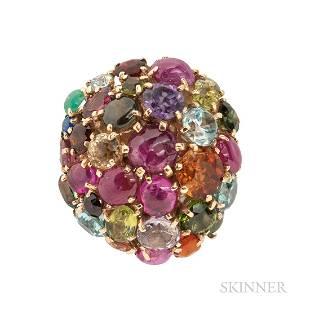 14kt Gold Gem-set Cluster Ring