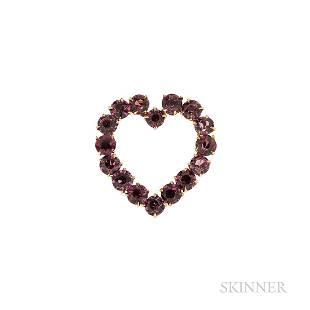 14kt Gold and Garnet Heart Brooch