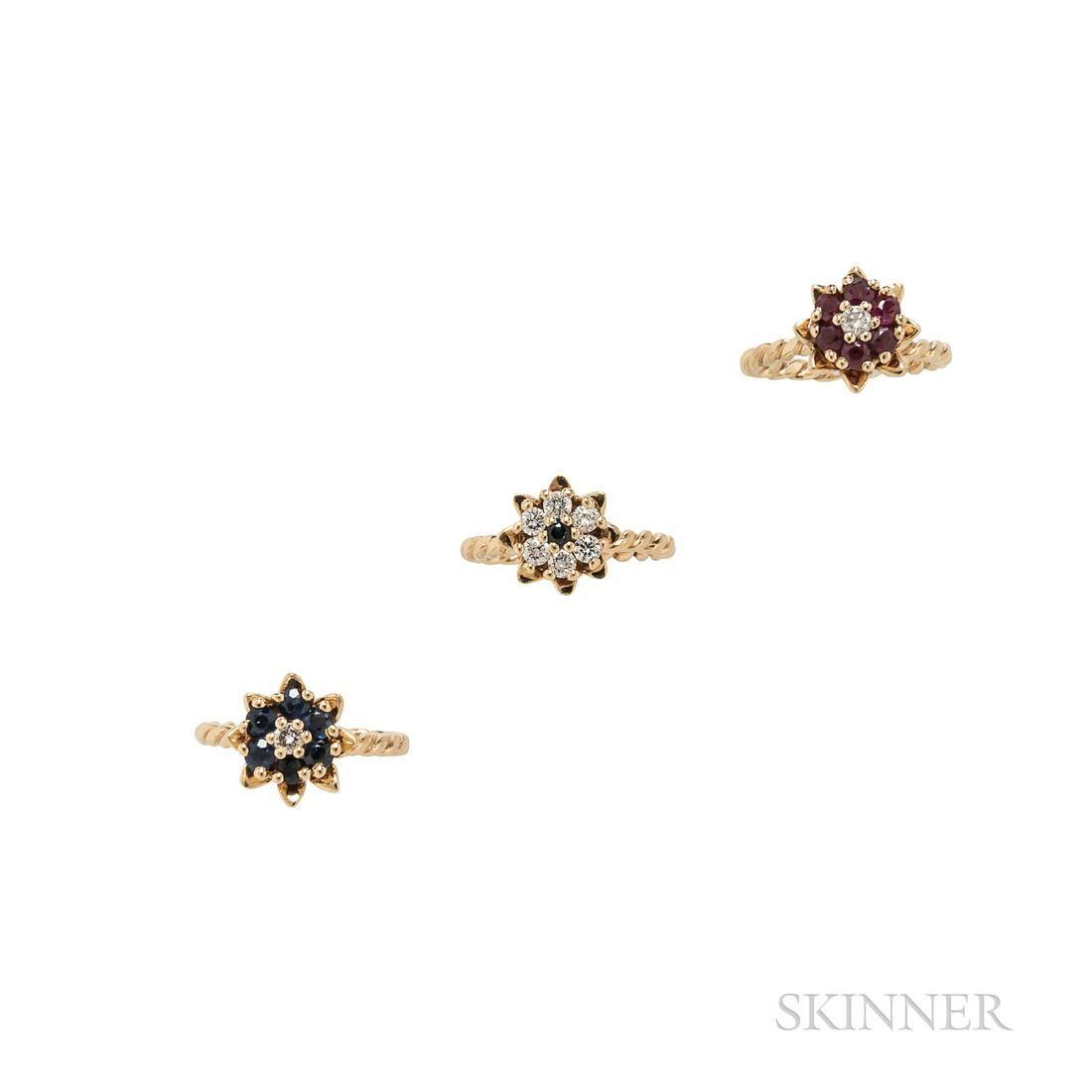 Set of Three 14kt Gold Gem-set Rings