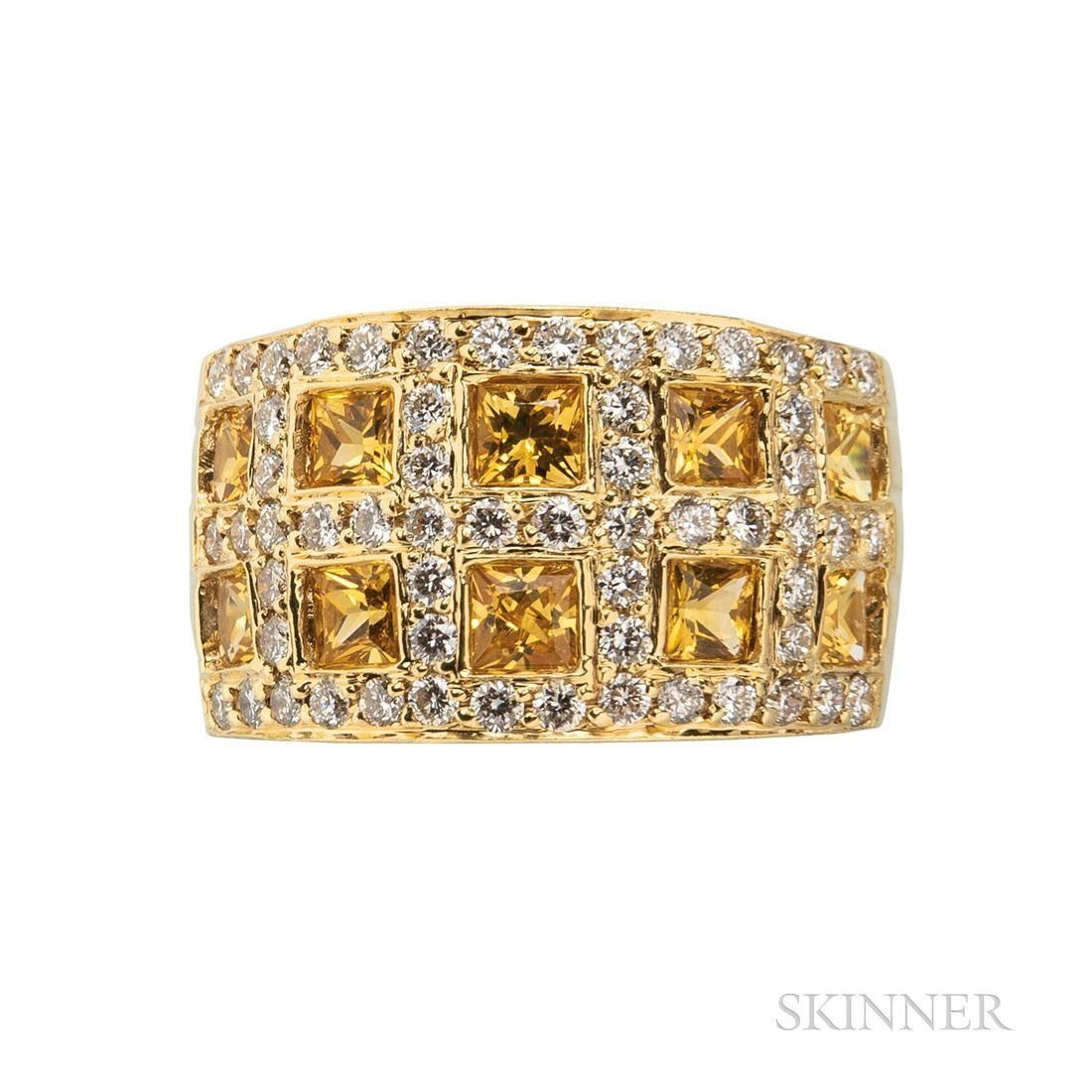 18kt Gold, Diamond, and Gem-set Ring