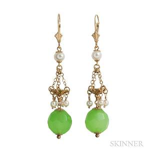 14kt Gold and Green Hardstone Drop Earrings