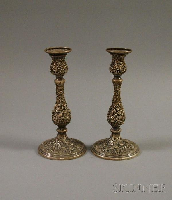 1: Pair of Kirk Sterling Silver Repousse Candlesticks,