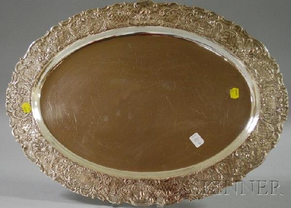 16: Continental Silver Plated Oval Tray, border decorat