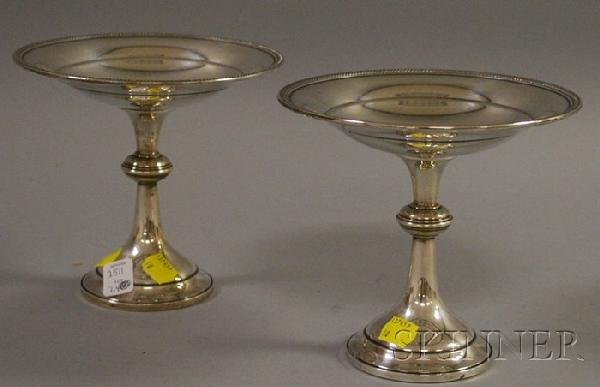 24: Pair of Rogers Sterling Weighted Footed Candy Dishe