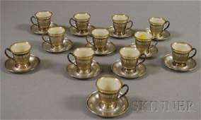 150A Set of Twelve Whiting Silver and Lenox Porcelain